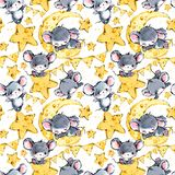 Cute mice seamless background. Funny cartoon mouse. vector illustration