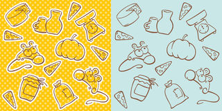 Cute mice seamless background. Cute mice and kitchen items - seamless background Royalty Free Stock Photos