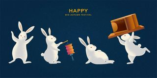 Free Cute Mid Autumn Festival Rabbit Royalty Free Stock Images - 156715059