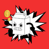 Cute milk box fighter cartoon character royalty free illustration