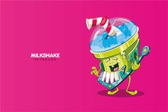 Cute milkshake character playing a keyboard. Cute blue milkshake character with a red and white striped skinny playing a keyboard. Vector illustration on fuchsia Stock Photos
