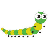 Cute millipede cartoon. Green Millipede cartoon. Outlined character with black stroke Stock Photography