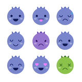 Cute minimalistic blueberry emoticons Royalty Free Stock Photos