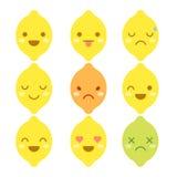 Cute minimalistic lemon emoticons. Isolated on white background vector illustration