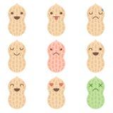 Cute minimalistic peanut emoticons. Isolated on white background royalty free illustration