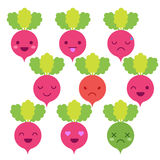Cute minimalistic radish emoticon Royalty Free Stock Photo