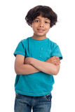 Cute Mixed Race Afro Caribbean Boy. Cute casual mixed race afro caribbean boy standing isolated in studio white background Stock Images