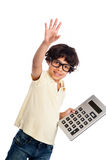 Cute Mixed Race Boy with Calculator. Cute mixed race boy with big calculator. Isolated on white studio background Royalty Free Stock Photography