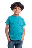 Cute Mixed Race Boy. Cute casual mixed race afro caribbean boy standing isolated in studio white background and blue tee shirt Stock Images
