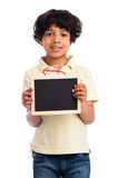 Cute MIxed Race Boy Holding a Blank Chalkboard. Isoltade on white background Stock Photography