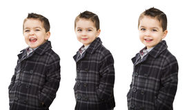 Cute Mixed Race Boy Portrait Variety on White Royalty Free Stock Photo