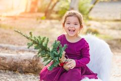 Laughing Mixed Race Young Baby Girl Holding Small Christmas Tree stock images