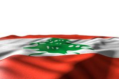 Pretty celebration flag 3d illustration - mockup image of Lebanon flag lie with perspective view isolated on white with place for. Cute mockup image of Lebanon stock illustration