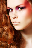 Cute model with fantasy fashion make-up, long hair Stock Photo