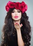 Cute Model with Long Permed Hair. Cute Brunette Model with Long Permed Hair Royalty Free Stock Images