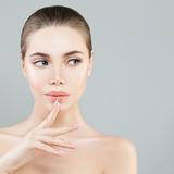 Cute Model Woman with Healthy Skin. Young Beauty. Cute Model Woman with Healthy Skin and Natural Nude Make up Royalty Free Stock Images