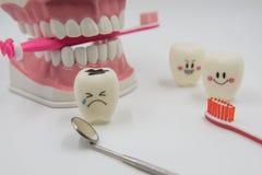 Cute modelo juega los dientes en odontología en un fondo blanco Fotos de archivo