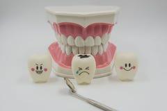 Cute modelo juega los dientes en odontología en un fondo blanco Foto de archivo