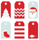 Cute modern Christmas holiday. Beautiful Tags set for Christmas - isolated on white. Vector set Stock Photography