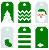 Cute modern Christmas holiday gift tags printables. Beautiful Tags set for Christmas - isolated on white. Vector set Royalty Free Stock Photo