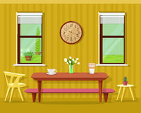 Cute modern dining room interior: table with coffee cups and flowers, chairs, clock and windows. Vector kitchen furniture set. Stock Image