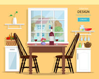 Cute modern kitchen interior design with furniture: table, chairs, kitchen cupboards. Royalty Free Stock Photography