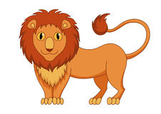 Cute modest cartoon lion with fluffy mane and kind Royalty Free Stock Images