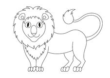 Cute modest lion with fluffy mane and kind muzzle, coloring book Stock Photo