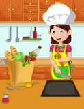 Cute mom cartoon cook in the kitchen Stock Photography