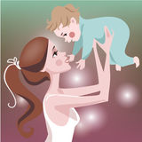 Cute mom with child. Card for the mother's day stock illustration