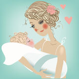Cute mom with child. Card for the mother's day Royalty Free Stock Photography