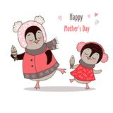 Cute mom and girl penguins are dancing. Funny postcard for Happy mother`s day. Vector illustration on white background Royalty Free Stock Photo
