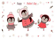 Cute mom and girl penguins are dancing. Cute mom and two girl penguins are dancing. Funny postcard for Happy mother`s day. Vector illustration on white Stock Image