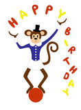 A cute monkey. Juggling on a ball Royalty Free Stock Image