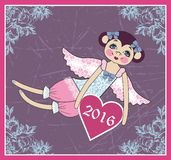 Cute monkey - angel with wings, symbol new year 2016. Winter Christmas design. Royalty Free Stock Photo