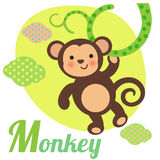 Cute Monkey. Cute animal alphabet for ABC book. Vector illustration of cartoon monkey. M letter for the Monkey Royalty Free Stock Photo