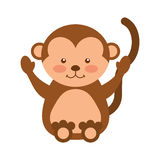 Cute monkey animal isolated icon Royalty Free Stock Photography