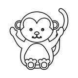 Cute monkey animal isolated icon Stock Image