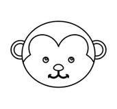 Cute monkey animal isolated icon Stock Photo