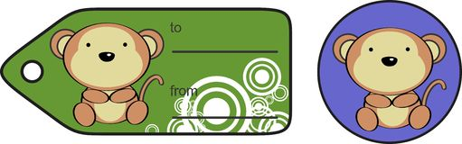 Cute monkey baby cartoon gift card Royalty Free Stock Photos
