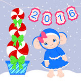 Cute monkey baby - symbol of 2016. Vector illustration of monkey and Christmas tree made out of candy royalty free illustration