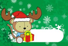 Cute monkey baby xmas cartoon background Stock Images