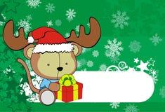 Cute monkey baby xmas cartoon background Stock Images