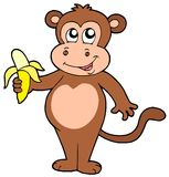 Cute monkey with banana Royalty Free Stock Photography