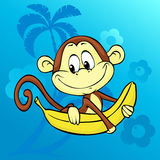 Cute monkey with banana on abstract background with palm - vector Royalty Free Stock Image