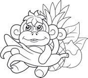 Cute monkey with banana Stock Photo
