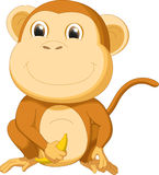 Cute monkey  with banana cartoon Royalty Free Stock Photo