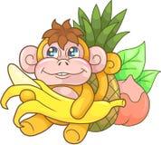 Cute monkey with banana, funny illustration Royalty Free Stock Photo