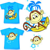 Cute monkey with banana printed on shirt - vector Royalty Free Stock Photo