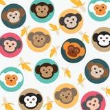 Cute monkey with bananas. Cute monkey with bananas on white background,vector illustrations pattern Stock Illustration